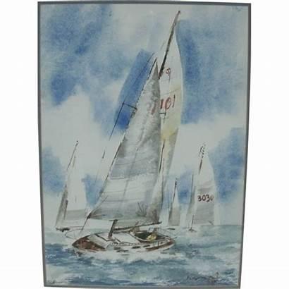 Watercolor Sailing Painting Sail Boat Scene Racing