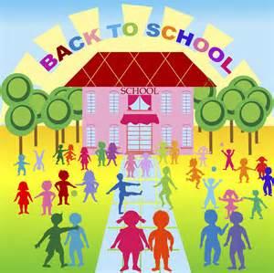 Clip Art of Children Going Back to School
