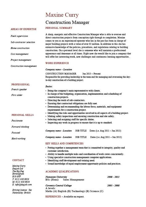 16199 construction superintendent resume exles and sles construction manager cv template building industry