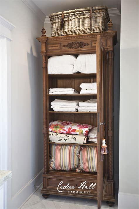 The Linen Closet by Antique Armoire Turned Linen Closet Cedar Hill Farmhouse
