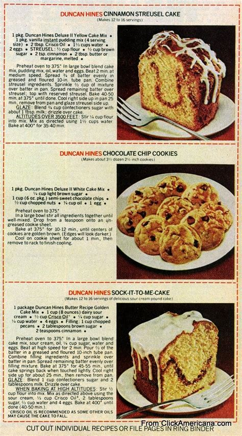 1/2 cup of butter or margarine, melted. 6 dessert recipes with Duncan Hines cake mix (1978 ...