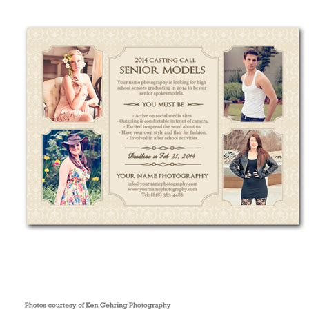 casting text template ellevate model casting card template