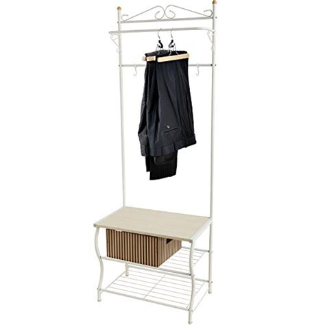 Entryway White Metal Storage Bench And Coat Rack
