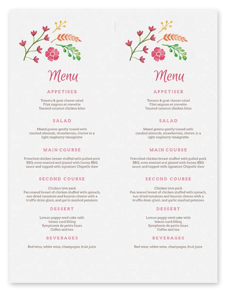printable menu template free printable menu cards