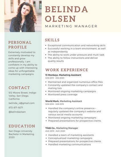 Resume Photo by Customize 298 Professional Resume Templates Canva