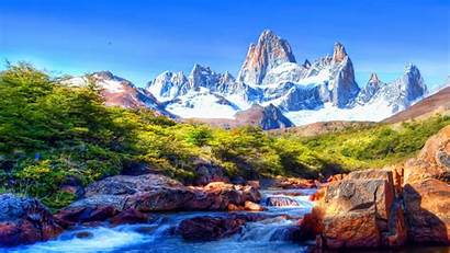Scenery Mountain Snow River Covered Rocks Wallpapers