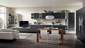 cuisine ouverte sur salon de design italien moderne With salon salle a manger contemporain pour petite cuisine Équipée