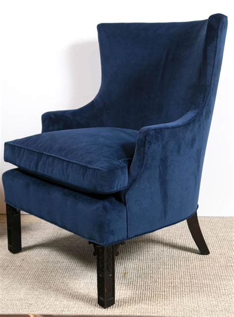 pair of blue velvet club chairs at 1stdibs