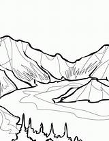 Coloring Pages Mountain Lake Drawing Clipart National Park Glacier Yosemite Crater Iceberg Clip Drawings Colouring Hephaestus Print Sun Studies Social sketch template