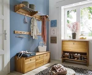 Massivholz Garderoben Set Dielenmbel 4 Teile Wildeiche