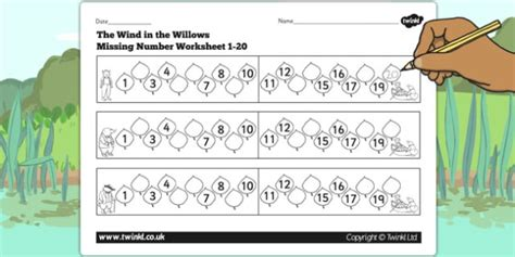 the wind in the willows missing number worksheet 1 20 number