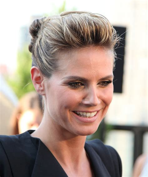 heidi klum casual long curly updo hairstyle