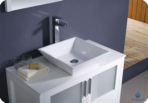 ″ Torino White Modern Bathroom Vanity W/ Vessel Sink