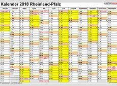 Kalender 2018 RheinlandPfalz Ferien, Feiertage, PDFVorlagen