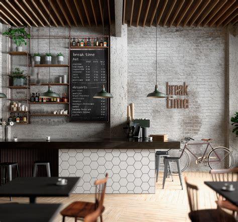scandinavian theme for cozy coffee shop architecturein