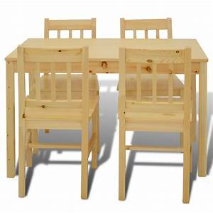 natural wood wooden dining table with 4 chairs natural With table a manger 4 personnes