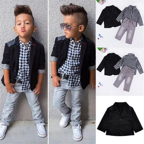 Trendy Little Boys Handsome Clothing Suit Kids Boys Black Coat White/Black Plaid Shirt Denim ...