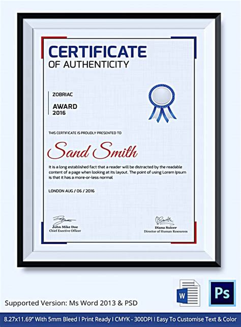 certificate  authenticity template  information