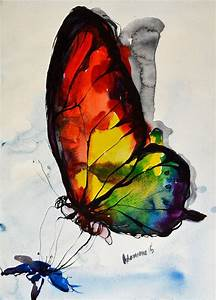 Rainbow Butterfly watercolor painting original by ...