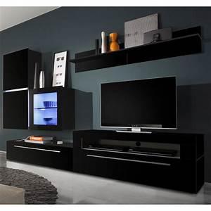 Wohnwand 2 Teilig : wohnwand polytop iv 6 teilig hochglanz schwarz tv lowboard mit 2 klappen led ~ Indierocktalk.com Haus und Dekorationen