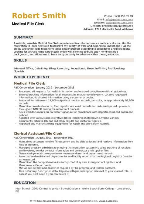 File Clerk Resume by File Clerk Resume Sles Qwikresume