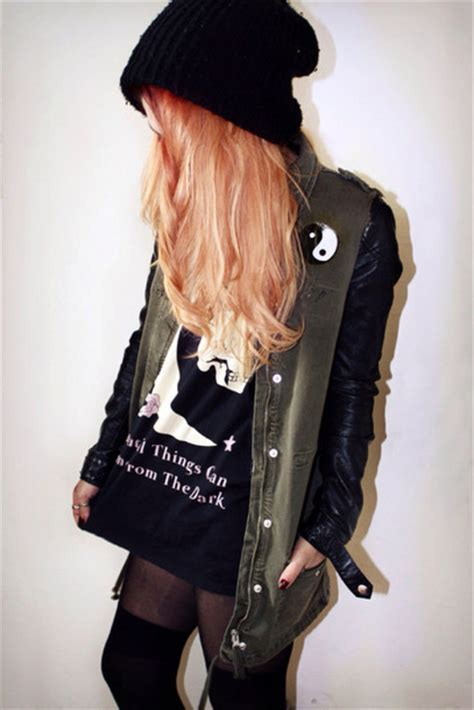Jacket khaki coat yin yang beanie grunge tights knee high socks thumb rings leather ...