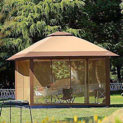 outdoor gazebo canopy  pop  tent mesh mosquito net patio solar led  ebay