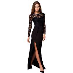 r70196 selling black lace women dress o neck long