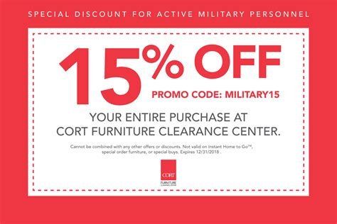 cort furniture clearance center military discount