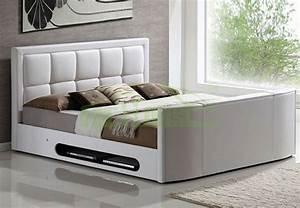 Moderne King Size Lit En Cuir Avec Tv En Pied De Lit Tv