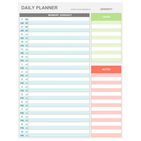 daily hourly planner template excel excel daily hourly planner printable editable daily