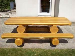 Rondin De Bois Pour Jardin : table de jardin en rondins de bois pour 8 personnes ~ Edinachiropracticcenter.com Idées de Décoration