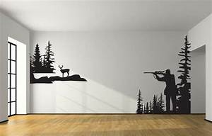 Whitetail deer hunting wall decal large hunter deer hunting for Hunting wall decals
