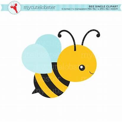Bee Clip Clipart Honey Bumblebee Single Bumble