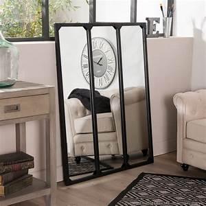Miroir Metal Noir : miroir fen tre triptyque en m tal rectangulaire 120x95cm teke noir ~ Teatrodelosmanantiales.com Idées de Décoration