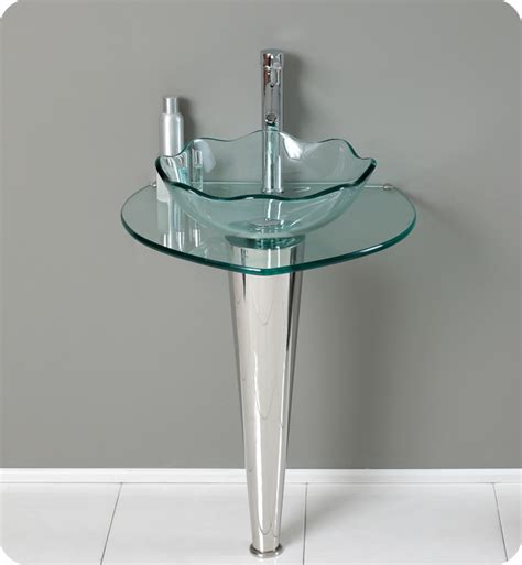 Glass Bathroom Vanity by Fresca Netto Modern Glass Bathroom Vanity W Wavy Edge