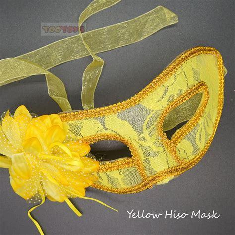 หน้ากากแฟนซีรุ่น Yellow Hi-so - สีเหลืองประดับด้วยดอกไม้ ...