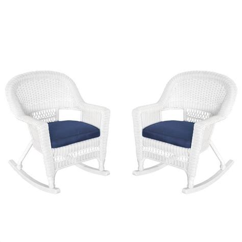 jeco rocker wicker chair in white with blue cushion set