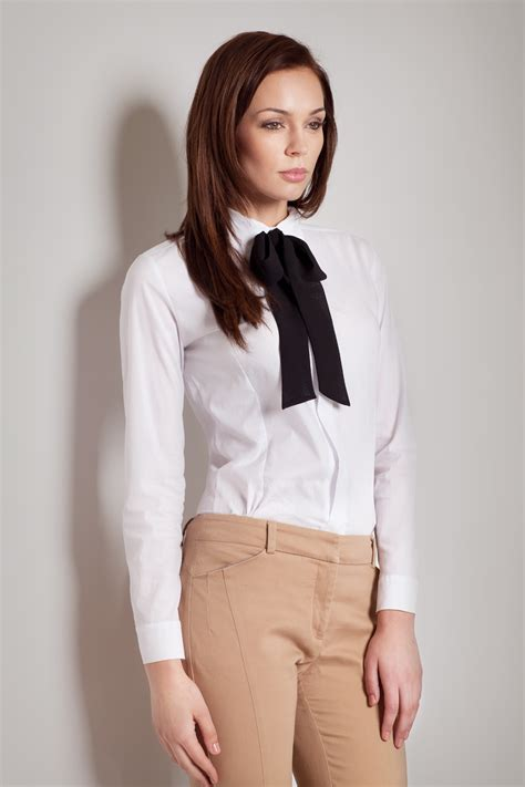 white blouse with bow contrast black bow seam white blouse with cuffed