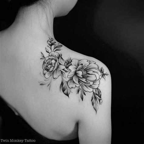black  white peony flowers tattoo    shoulder