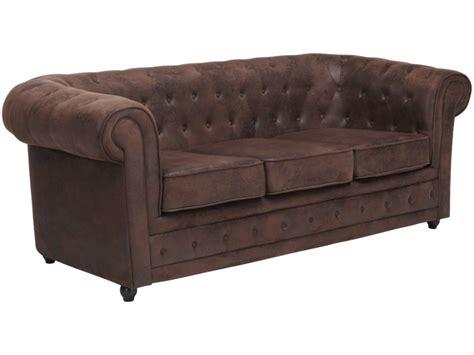 ventes uniques canapes canapé en microfibre aspect cuir vieilli chesterfield