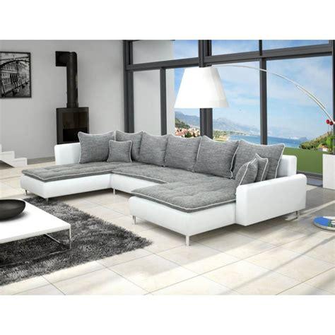canapé matelas tapissier grand canapé panoramique 7 places dante en tissu et simili