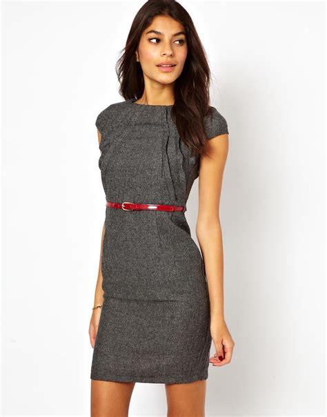lyst  mistress tweed pencil dress  belt  gray