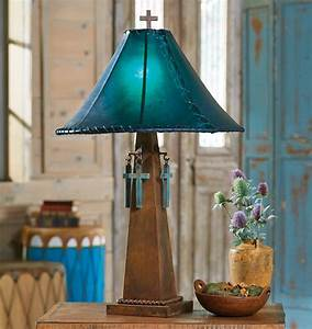 Turquoise Pottery Table Lamp With Rawhide Shade Somehow Or