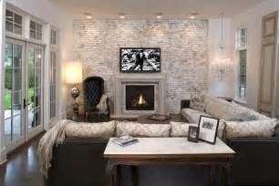 faux brick wall family room mediterranean with accent wall brick fireplace beeyoutifullife