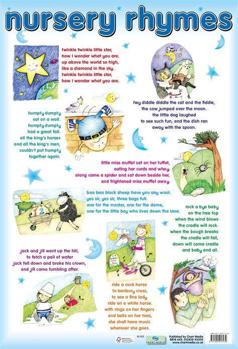 Nursery Rhymes That Rhyme nursery rhymes poster by chart media chart media