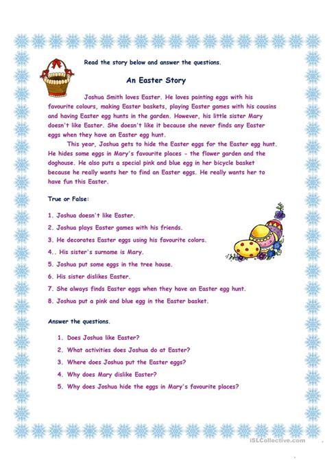 easter story ii worksheet  esl printable