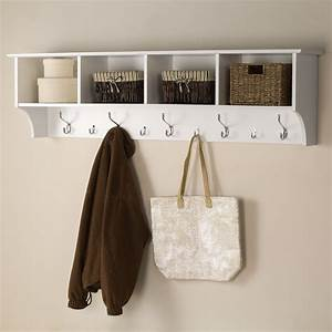 shop prepac furniture white 9 hook wall mounted coat rack With kitchen cabinets lowes with how to train your dragon wall art