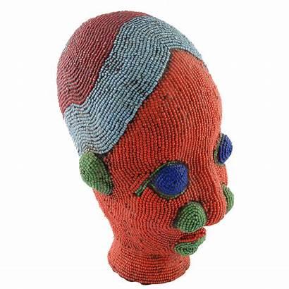 Clay Head African Sculpture Beaded