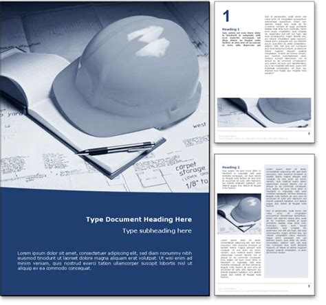 royalty  construction microsoft word template  blue